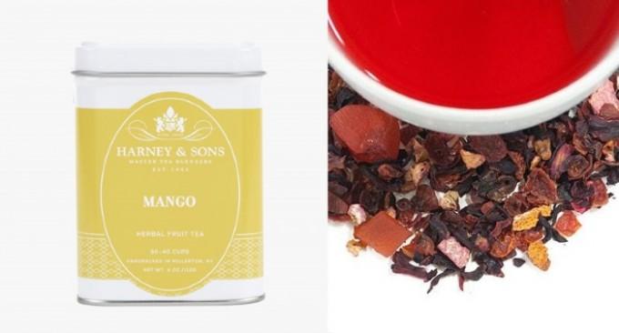 ハーバルフルーツティーシリーズのマンゴの缶と中身の茶葉