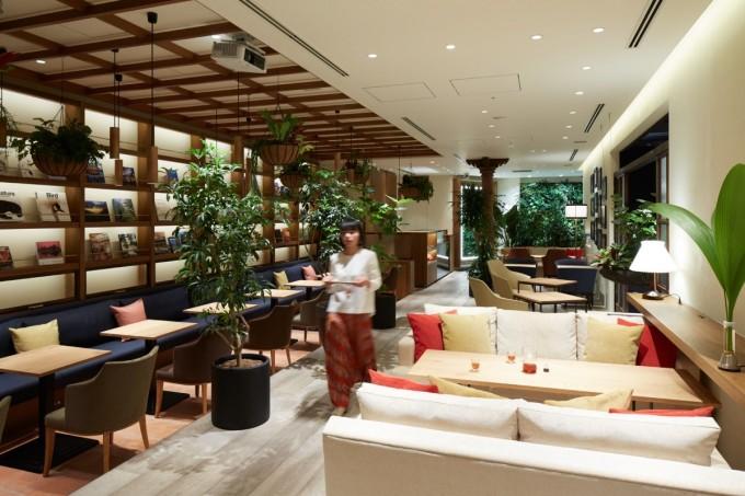 本棚やソファー、植物が飾られたラウンジセイロンタイム