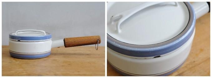 チーク材が特徴のFINEL社のホーロー鍋をサイドと斜め上から見た