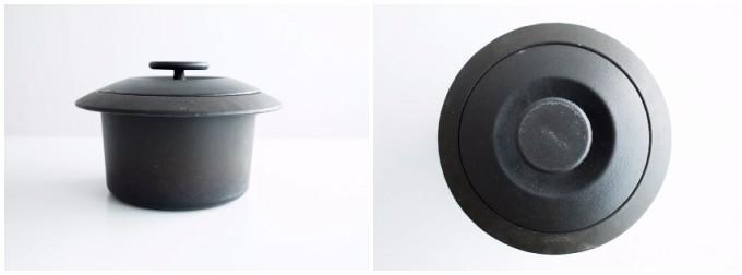 サイドとトップから見た、アンティ・ヌルメスニエミがデザインした両手鍋
