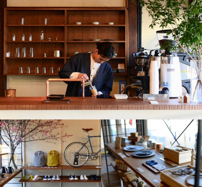 「Tokyobike Rentals Yanaka」のコーヒー・日本酒スタンド