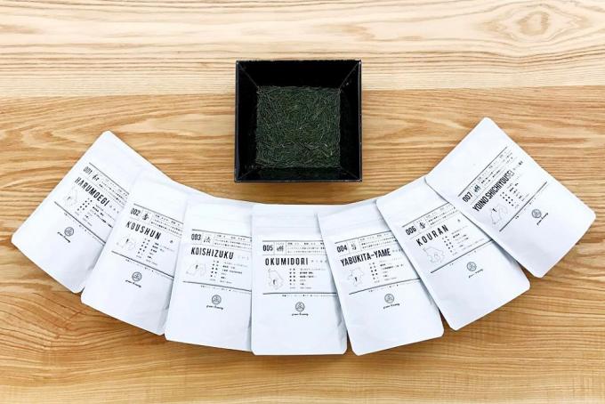 green brewingの白いパッケージの7種類の茶葉
