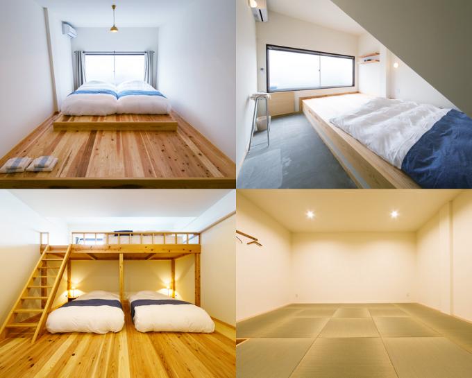 「Chus(チャウス)」のゲストハウス『YADO』の4タイプの部屋イメージ、ベットなどが置かれている