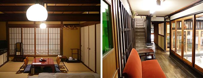 旅館「まるも」の客室と、廊下の様子