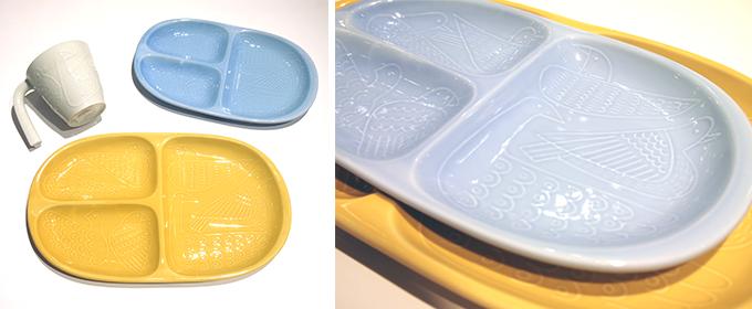 石原亮太さんによるブランド「Pebble」による黄色やブルーの波佐見焼
