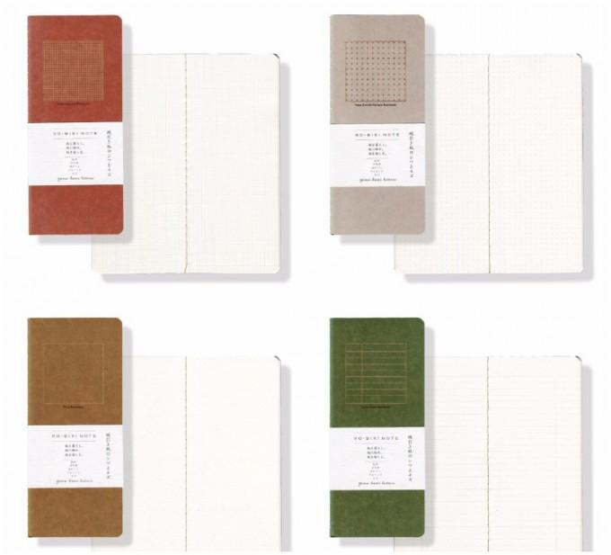 蝋引き紙を使用した4種類のRO-BIKI NOTE(ロウビキノート)