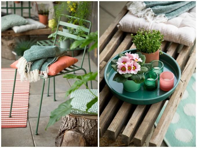 ソストレーネ グレーネのガーデンチェアやテーブルと、雑貨や花など