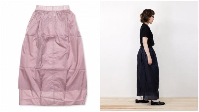 スモーキーピンクのスカートと黒いスカート