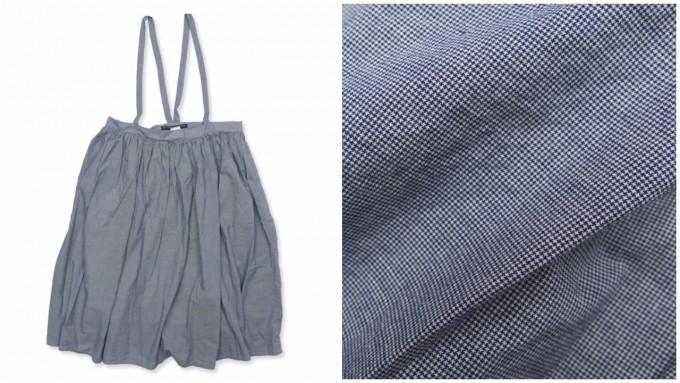 細かなチェック模様がはいったサスペンダースカート