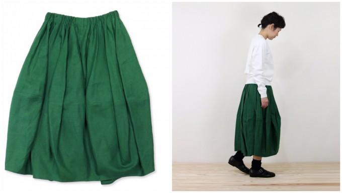 グリーンのバレルスカート