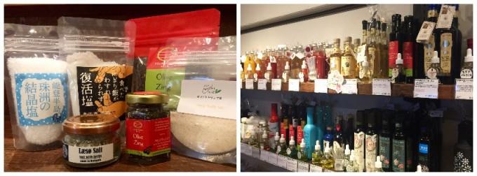 「上野桜木あたり」のに入居する塩とオリーブオイルの専門店「おしおりーぶ」で販売中の塩とオリーブオイルがそれぞれ並んでいる