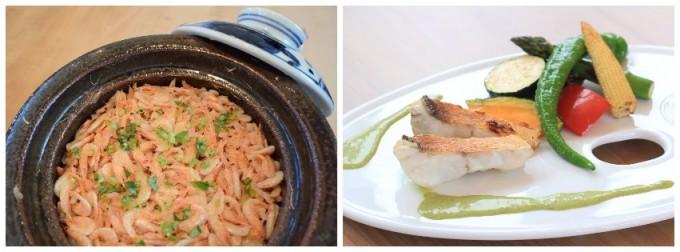 日本料理店「吉祥寺 わるつ」で提供している「桜海老の炊き込みご飯」と「鰆の朴葉焼き」