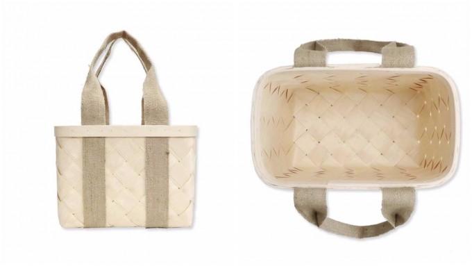 白樺でできた「CINQ (サンク)」のかごバッグと、かごバッグの中のデザインの様子