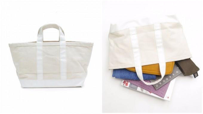 「SyuRo(シュロ)」のトートバッグと、倒れたトートバッグから出た文具など