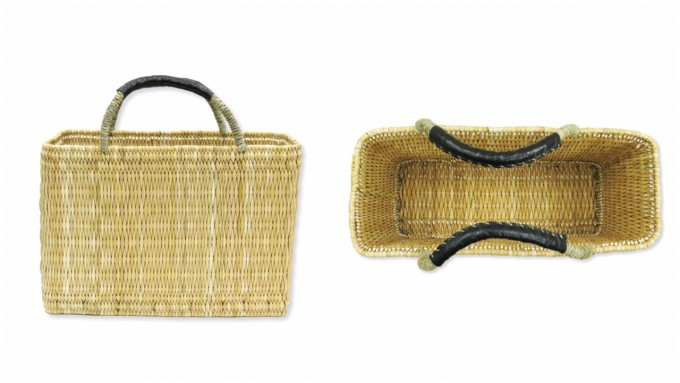 「warang wayan(ワランワヤン)」のストローかごバッグと、かごバッグの中の様子