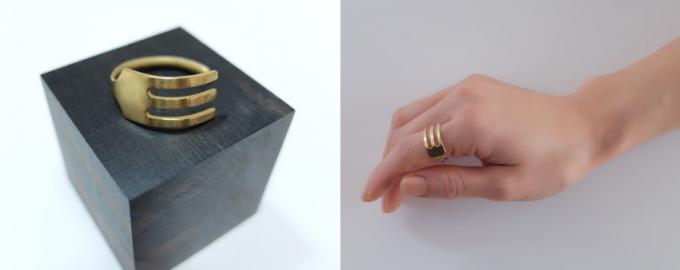 フォークをモチーフにした「ivi(アイビ)」のリングと、実際に指にリングをつけている様子
