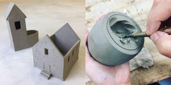 「小さな陶芸教室 安藤屋/&-works」の陶芸作品2つと、実際に作品を作っているところ