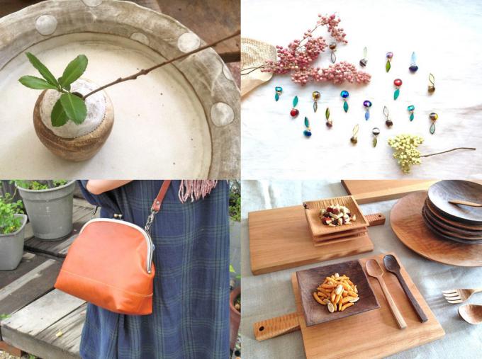 クラフトフェア飯田に出展される作品たち、食器やバッグ、アクセサリーなど