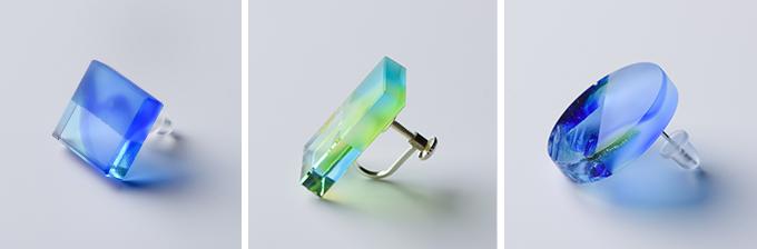 青や緑、四角や丸いアクセサリー「Ryu Kyu Iro」