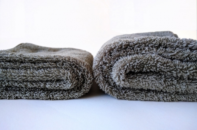 ふっくら「育てるタオル」洗濯前と洗濯後の様子