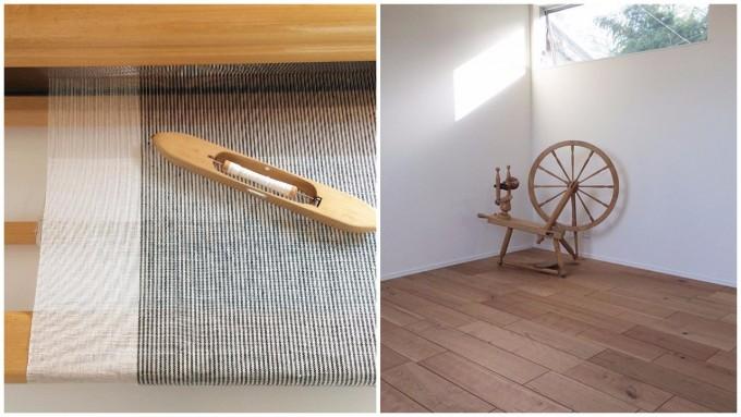「Rocca(ろっか)」の織り機をヨリとヒキで見たときの様子