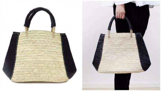 「warang wayan(ワランワヤン)」のトライアングル型バッグと、それを手に持っている様子