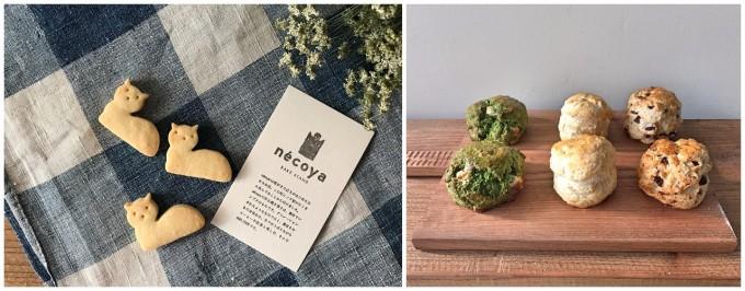 「nécoya BAKE STAND(ネコヤベイクスタンド)」の猫型クッキーとスコーンたち