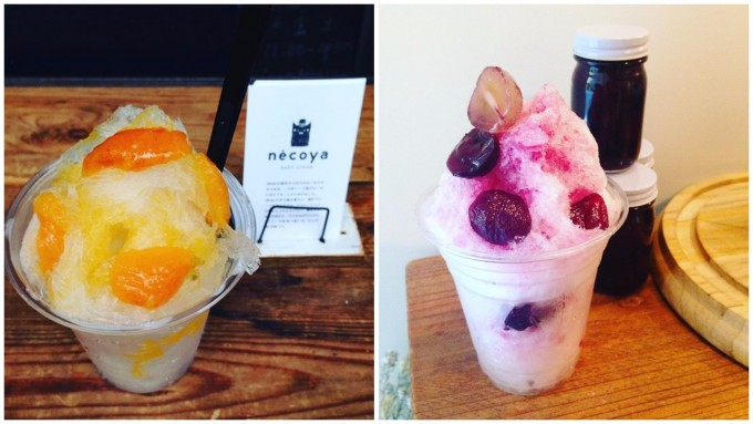 「nécoya BAKE STAND(ネコヤベイクスタンド)」の果物のかき氷2種類