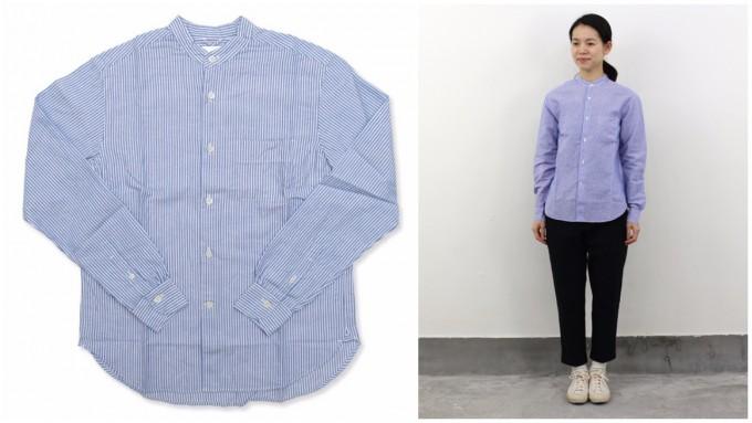 「maillot(マイヨ)」のコットンリネンシャツと、女性がそのシャツを着ている様子