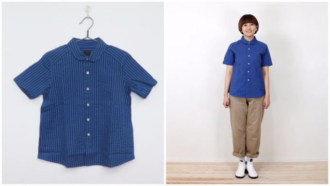 「maillot(マイヨ)」の丸衿シャツと、そのシャツをモデルが着用している様子