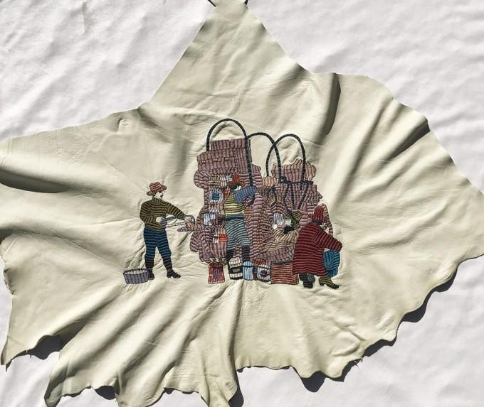 """刺繍作家『まるやまあさみ個展「The Old West」』のテーマである""""カウボーイ"""""""