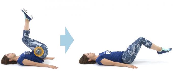 仰向けで足を上下に動かし、下腹部を簡単に引き締める筋トレ「ベントニーレッグレイズ」の手順