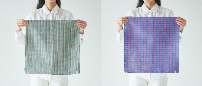 滋賀県近江で織られた「PINT」オリジナルのリネンコットンハンカチ2種類