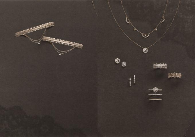 ジュエリーブランド「AbHeri(アベリ)」のレティセラシリーズの指輪やネックレス、ピアスなどの写真