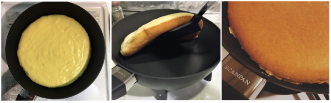 スキャンパンの調理風景、ホットケーキ