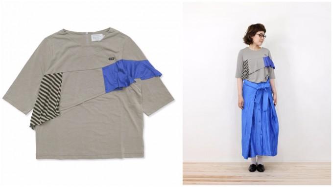 wafflish waffleの青とボーダーのフリルがついたグレーのTシャツ