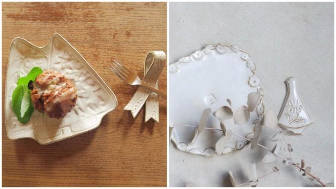 スイーツが盛られた「キエリ舎」の白いお皿やカトラリーレスト