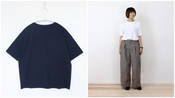 evam evaの紺や白のベーシックTシャツ