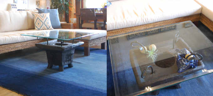 「KAJA(カジャ)」のガラスとチーク材のローテーブル