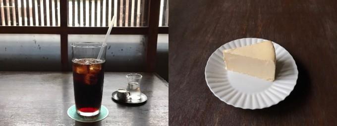 奈良町にあるカフェ「カナカナ」のお店特製チーズケーキとアイスコーヒーのセット