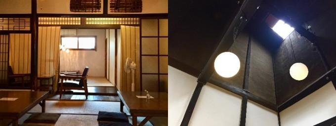 奈良町にあるカフェ「カナカナ」のノスタルジックな雰囲気の店内