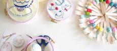 カラフルな刺繍糸や裁縫セットなど刺繍CAFEの様子