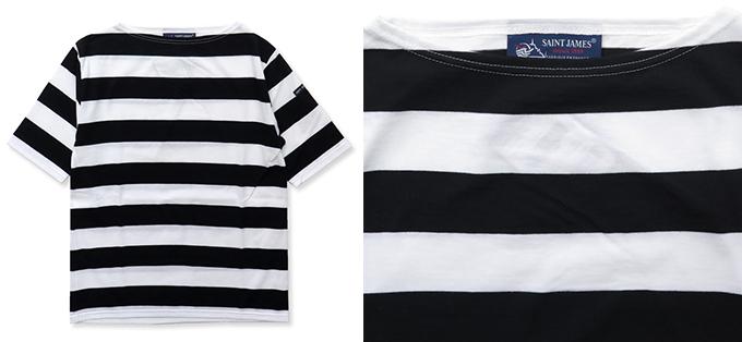 SAINTJAMESの黒白ボーダーTシャツ