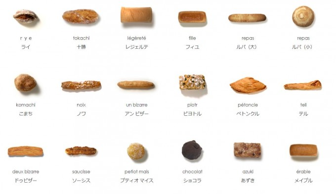 「POINT ET LIGNE(ポワン・エ・リーニュ)」では常時約40種のパンが並ぶ