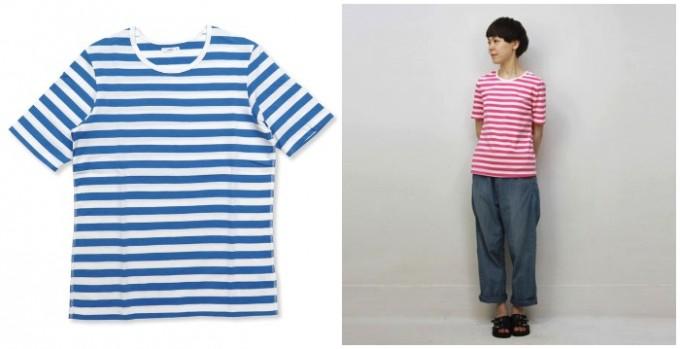 maillotのブルーやピンクのボーダーTシャツ