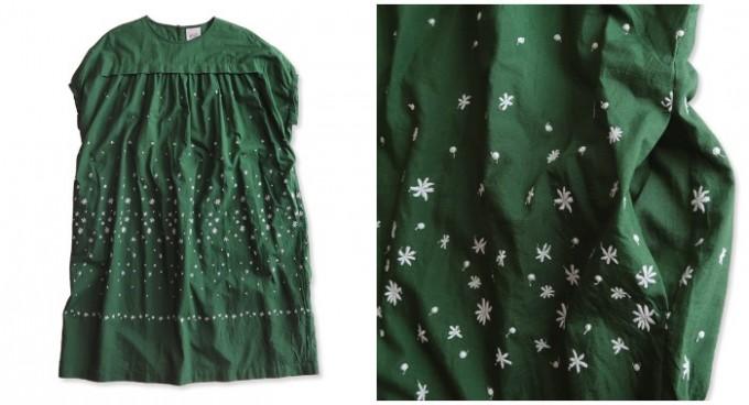 ミナペルホネンの刺繍入りグリーンワンピース