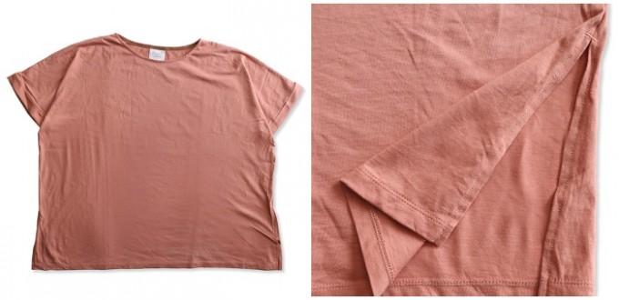 yuniのベージュピンクのラージプルオーバーTシャツ