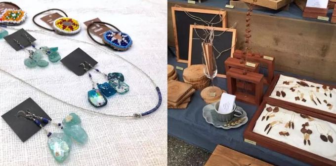 「うみのアパルトマルシェ」に出展するブランドのアクセサリーと木工雑貨