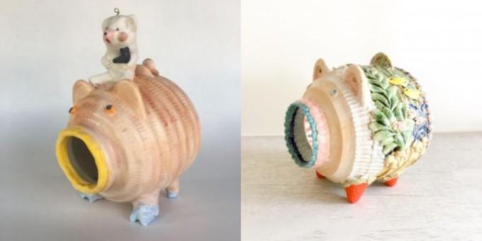 「蚊遣り豚」左:増田光、右:白木千華