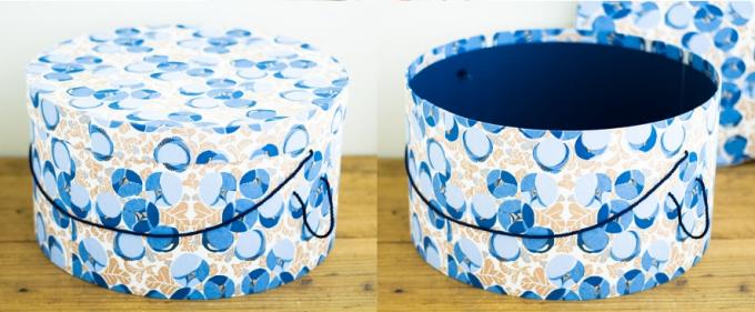 「BOX&NEEDLE」の青いハットボックス
